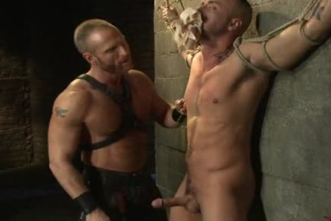 tied Up homosexual twink gets drilled By delicious Leather daddy