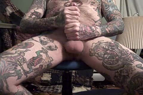 beefy Jack Off Of thellos guyavily Tattooed guy.