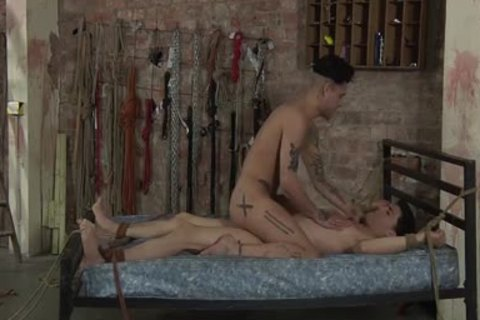 fastened Up Luke gets blowjob And anal From yummy Mickey