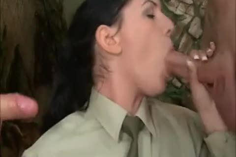 brunette hair cutie In Al butthole trio With two dirty Soldiers