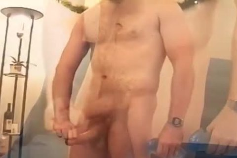 naked dude In A Baseball Cap Strokes His subrigid dong