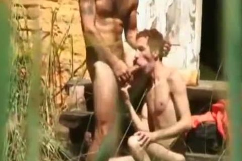 brunette chap Takes A gigantic dong In His butthole After Jail Escape