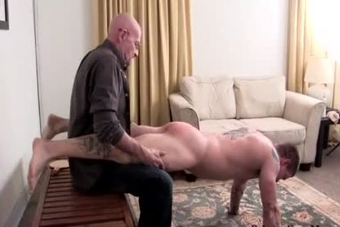 Muscle dilettante spanking With cumshot