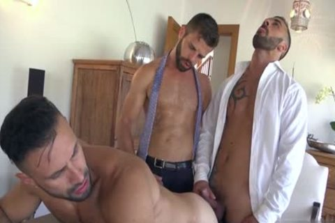 Muscle gay threesome And cream flow