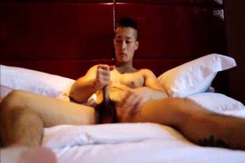 Tattooed handsome oriental Hunk With Muscles And big dick