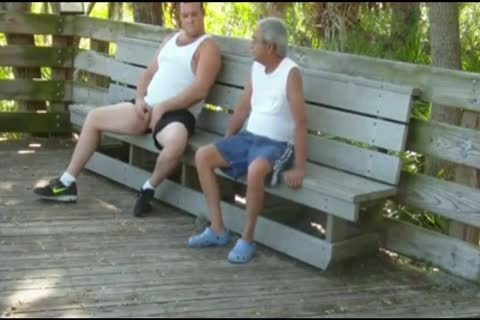 outdoors Scenes Where old man Sucks & gets poked By chubby